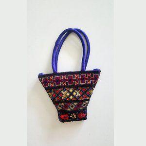1990's Royal Blue Top Handle Beaded Evening Bag